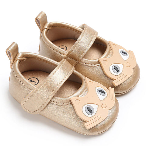 Newborn Baby Toddler Girls Cat Cute Flat Sandals Shoes Anti-Slip Leather 0-18M | Edlpe