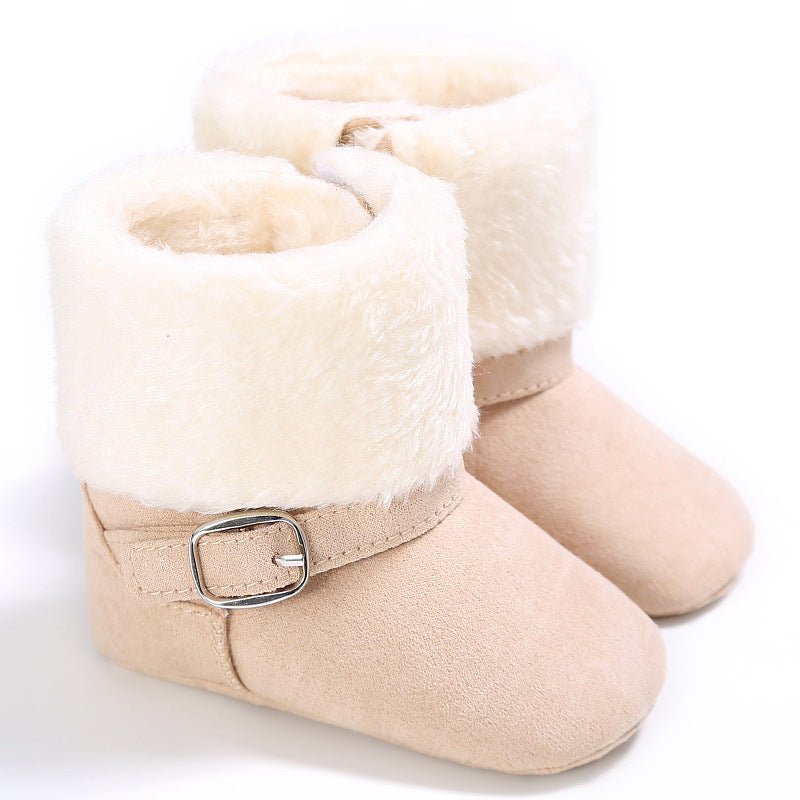 Baby Girl Button Slip On Ankle Boots Winter Warm Flat Shoes Prewalker Toddler | Edlpe