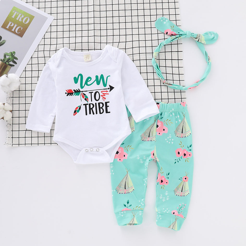 3Pcs Baby Girls Clothes Long Sleeve Jumpsuit Romper Bodysuit Pants Outfits Set | Edlpe
