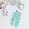 Image of 3Pcs Baby Girls Clothes Long Sleeve Jumpsuit Romper Bodysuit Pants Outfits Set | Edlpe