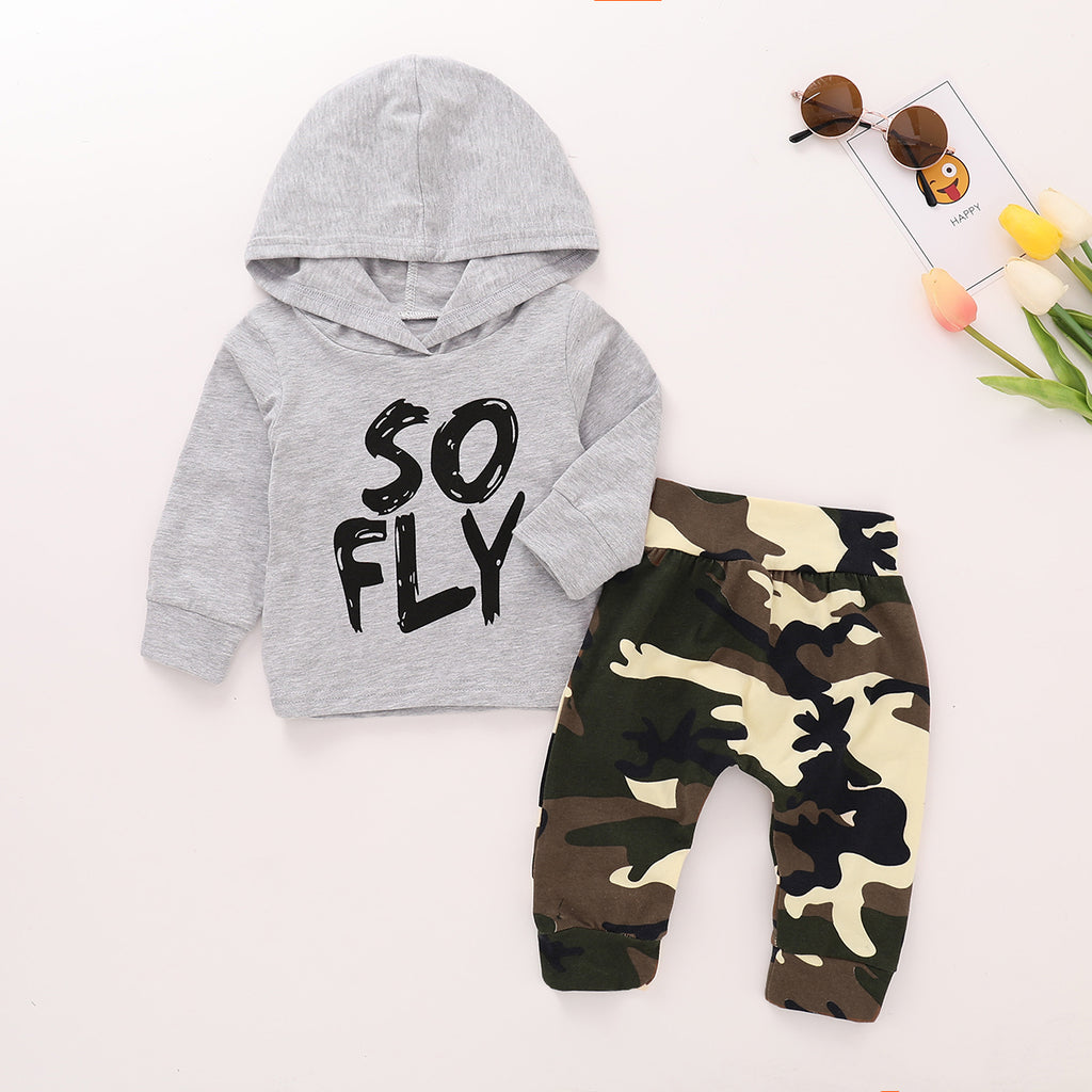 Toddler Infant Baby Boys Winter Outfits Clothes Hoodie Tops + Camo Pants Set | Edlpe
