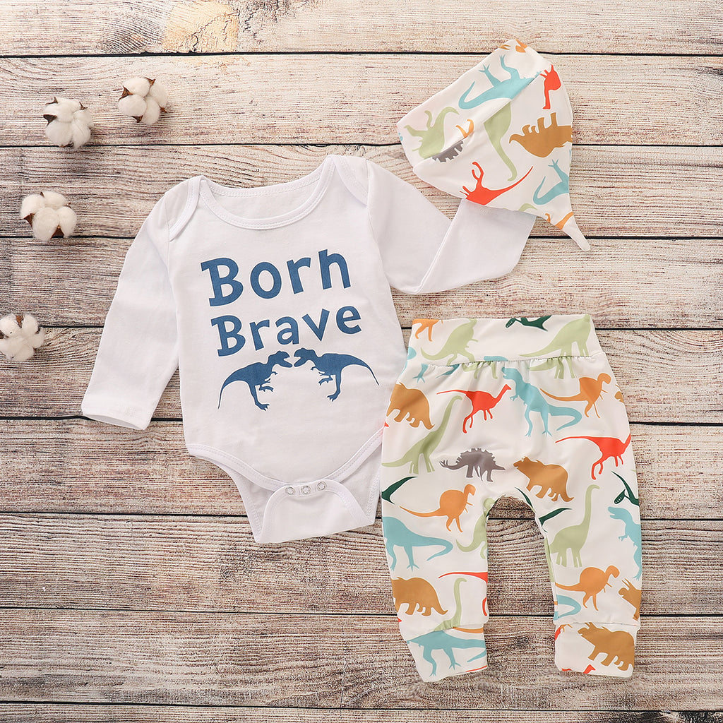Autumn Toddler Infant Baby Cotton Long Sleeve Dinosaur Print T Shirt + Pants | Edlpe