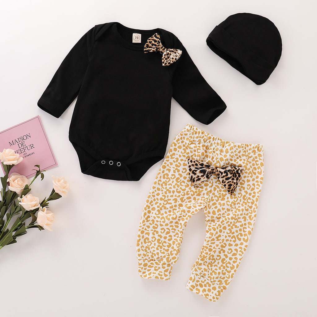 Newborn Baby Girls 3Pcs Clothes Bow Romper Jumpsuit Leopard Pants Outfits Set | Edlpe