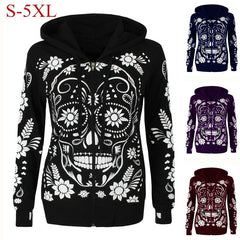S-5XL Plus Size Women Vintage Skull Print Hooded Zipper Coat Autumn Spring Casual Tops Sport Hoodie | Edlpe