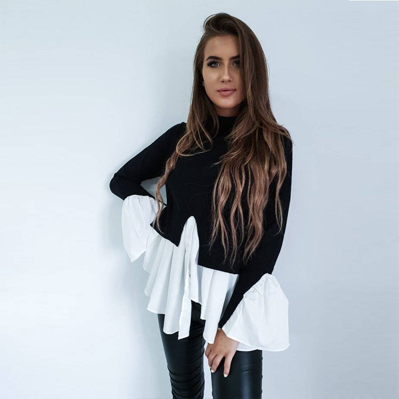Fashion Women Long Sleeve Frill Ruffle Tops Casual Loose Ladies Blouse Shirt