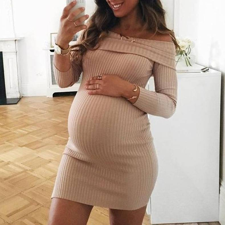 Pregnant Women's Off Shoulder Bodycon Slim Ribbed Maternity Short Mini Dress