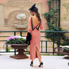 Image of Women French Style Backless Bodycon Dress Buttons Back Slit Sexy Elegant Cocktail Party Dress