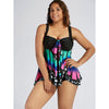 Image of Plus Size Women Padded Tankini Sets Ladies Butterfly Print Swimwear Swimsuits Bathing Beachwear
