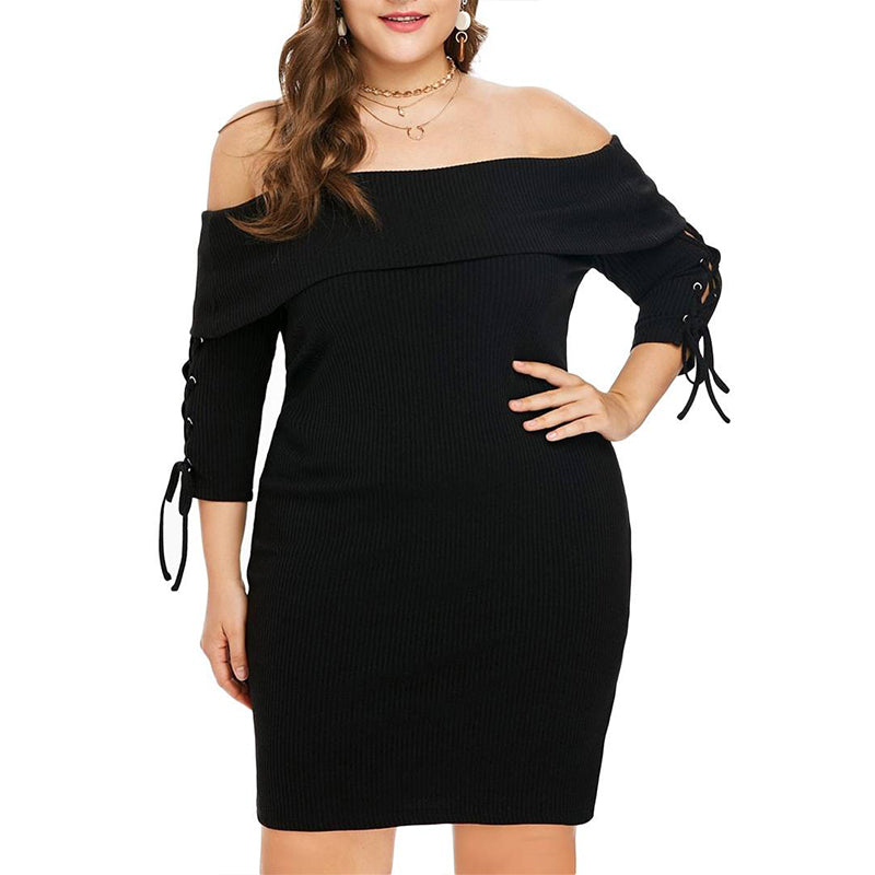 Plus Size Women Off Shoulder Bodycon Dress Ladies 3/4 Sleeve Cocktail Party Prom Ball Gown