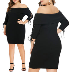 Image of Plus Size Women Off Shoulder Bodycon Dress Ladies 3/4 Sleeve Cocktail Party Prom Ball Gown