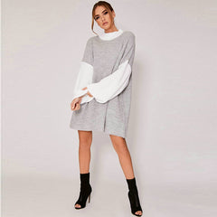 Women Casual Turtleneck Loose Sweater Dress Color Block Stitching Long Sleeve Midi Dress