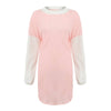 Image of Women Casual Turtleneck Loose Sweater Dress Color Block Stitching Long Sleeve Midi Dress