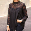 Image of Ladies Women Lace Patchwork Office Top Blouse High Neck Casual Loose T-Shirt Tee