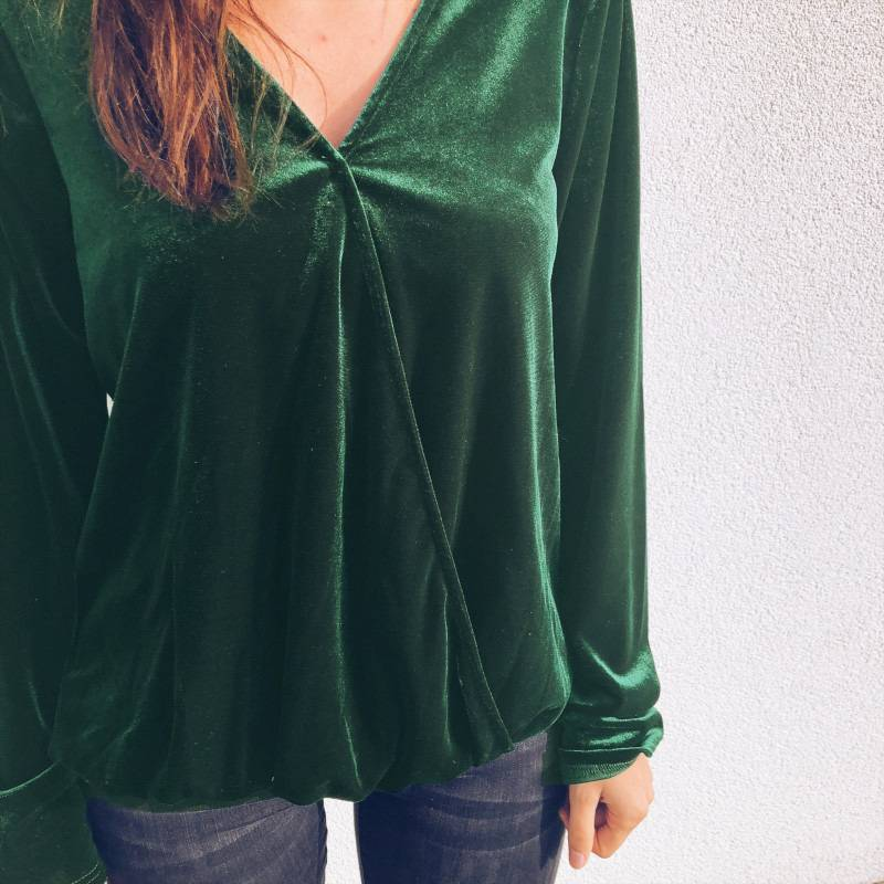 Womens V Neck Velvet Long Sleeve Shirt Tops Ladies Casual Blouse Top