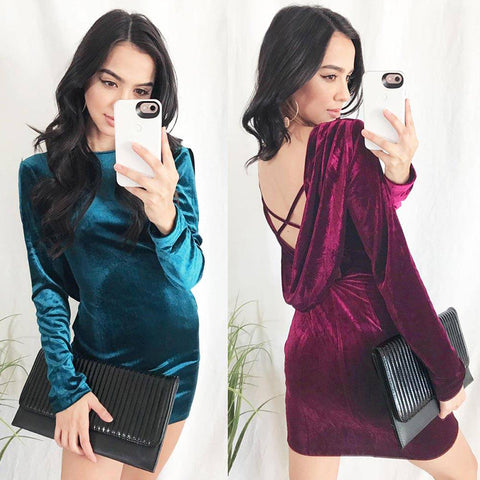 Women Sexy Backless Cross Velvet Bodycon Cocktail Party Evening Mini Dress