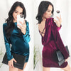 Image of Women Sexy Backless Cross Velvet Bodycon Cocktail Party Evening Mini Dress