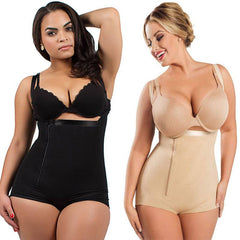 Plus Size Women Underbust Corset Trainer Buckled Zipper Cincher Waist Tummy Control Full Body Shaper