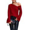 Image of Chic Women Irregular One Cold Shoulder Jumper Sexy Sweater Bell Sleeve Holiday Party Tops