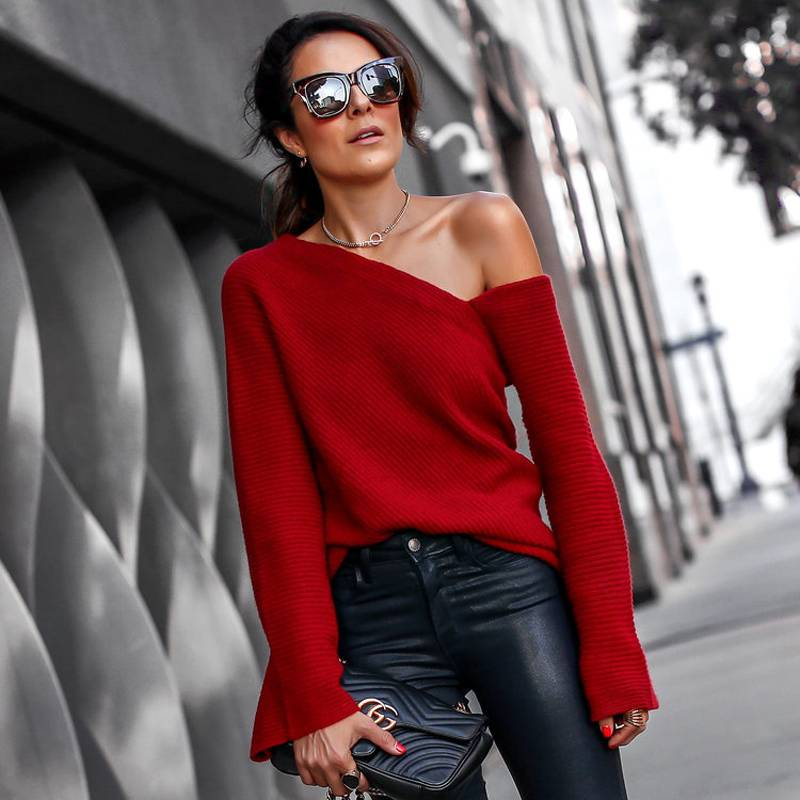 Chic Women Irregular One Cold Shoulder Jumper Sexy Sweater Bell Sleeve Holiday Party Tops