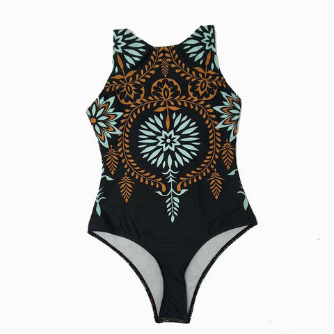 Women Classic Digital Print Round Neck Backless Padded Swimsuit One Piece Bathing Suit Beachwear