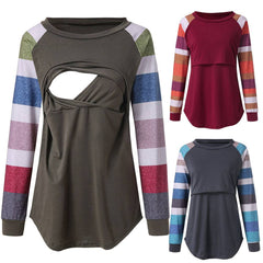 Women Fashion Maternity Breastfeeding Color Block Striped Long Sleeves Shirt Tee Tops