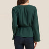 Image of Women Solid V Neck Tie Wrap Shirt Office Ladies Long Sleeve Casual OL Workwear Blouse Top