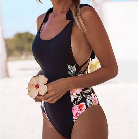 Women Floral Padded Bandage One Piece Swimsuit Monokini Bathing Beach Swimwear