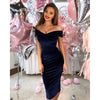 Image of Women Velvet Bardot Prom Evening Party Dress Bodycon Dress Gown Formal Cocktail