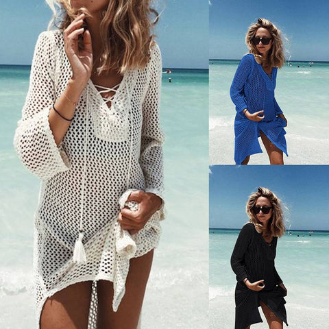 Women Sexy Cover Up Summer Fishnet Lace Up Bikini Swimwear Beach Mini Dress Bathing