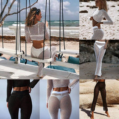 Women 2PCS Hollow Out Swimwear Beach Crop Tops Long Pants Ladies Bikini Cover Up Suit