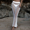 Image of Women 2PCS Hollow Out Swimwear Beach Crop Tops Long Pants Ladies Bikini Cover Up Suit