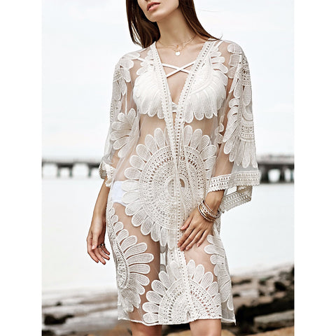 Women Floral Lace Mesh Kimono Cardigan Beach Bikini Cover Up Tops Open Front Beachwear Blouse