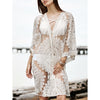 Image of Women Floral Lace Mesh Kimono Cardigan Beach Bikini Cover Up Tops Open Front Beachwear Blouse