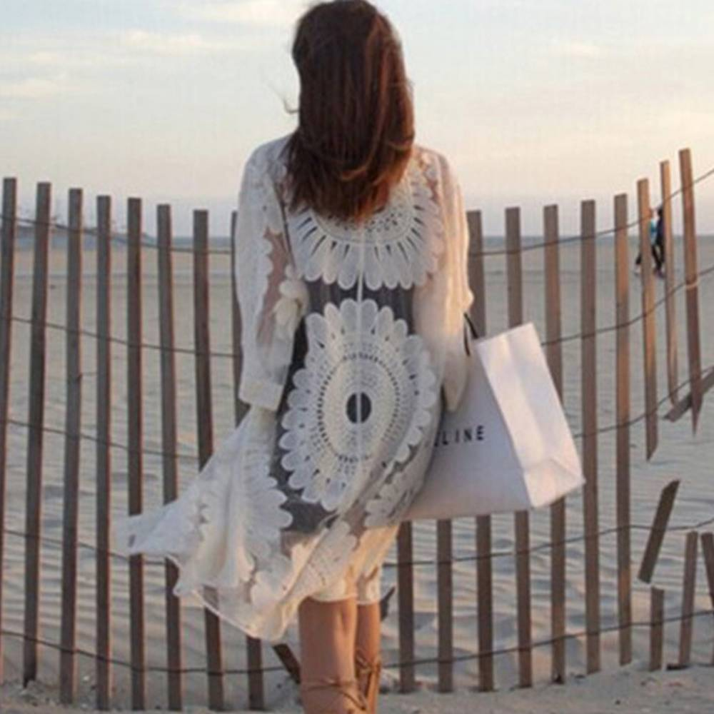 Womens Ladies Floral Ruffle Frill Sleeves Open Front Beach Cover Up Kimono Tops