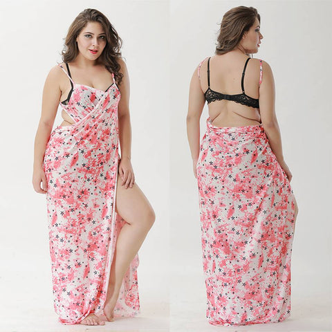 Plus Size Women's Swimwear Bikini Cover Up Beach Maxi Wrap Sarong Long Dress