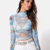 Image of Women Turtleneck Cupid Cherub Print Blue Mesh Long Sleeve Crop Top See-through Party Shirt Clubwear