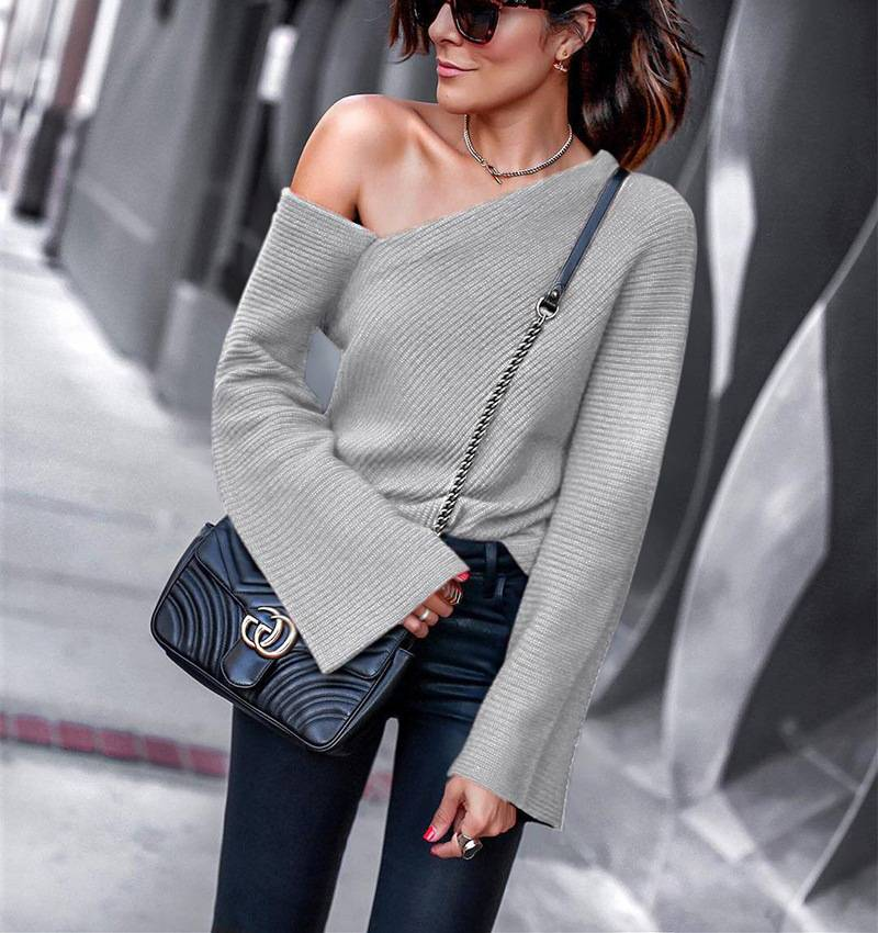 818ca36a3dd ... Chic Women Irregular One Cold Shoulder Jumper Sexy Sweater Bell Sleeve  Holiday Party Tops ...