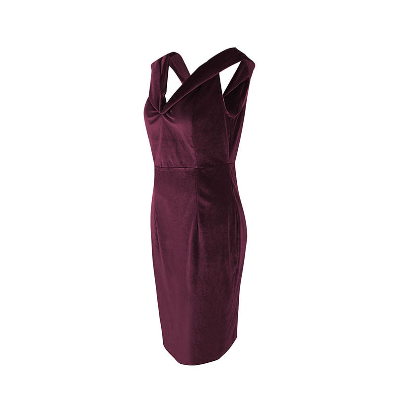 Women Velvet Bardot Prom Evening Party Dress Bodycon Dress Gown Formal Cocktail