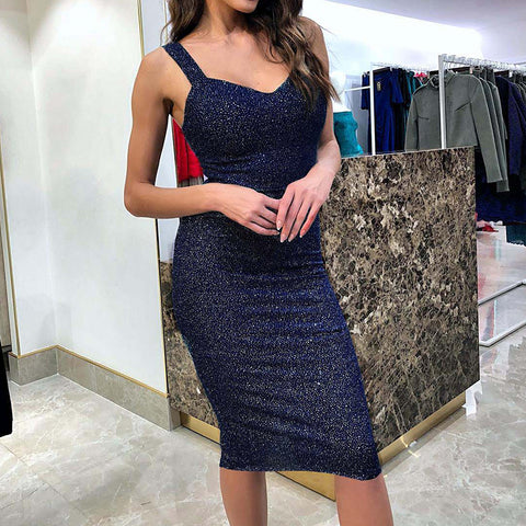Ladies Sparkle Bodycon Midi Dress Womens Glitter Sleeveless Party Clubwear Ball Gown