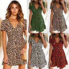 Women Leopard Swing Dress Ladies Casual V Neck Short Sleeve Skater Mini Dress