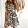 Image of Women Leopard Swing Dress Ladies Casual V Neck Short Sleeve Skater Mini Dress
