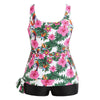 Image of Plus Size Women Floral 2PCS Floral Separates Swimsuit Tankini Tank Top Shorts Bathing Suit