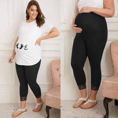 Plus Size Maternity Women Leggings Lace Patchwork High Waist Stretch Long Pants