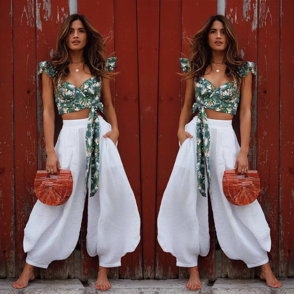 Holiday Casual Linen Palazzo Pants Women White High Waist Wide Leg Long Trouser