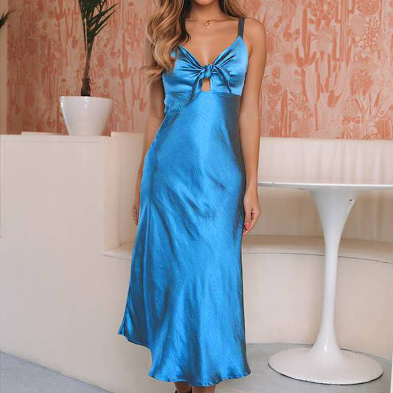 Women Vintage Blue Satin Bowknot Strappy Long Dress Holiday Cocktail Evening Party Prom Gown