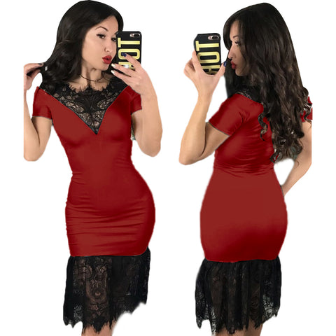 Women Lace Midi Dress Ladies Evening Party Clubwear Party Bodycon Cocktail Dress