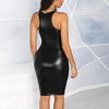 Image of Sexy Women PU Leather Bodycon Dress Nightclub Party Sleeveless Mini Short Dress