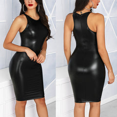 Sexy Women PU Leather Bodycon Dress Nightclub Party Sleeveless Mini Short Dress