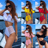 Image of Womens Bikini Set Swimsuit High Waist Dot Ruffle Bathing Suit Swimwear Beachwear