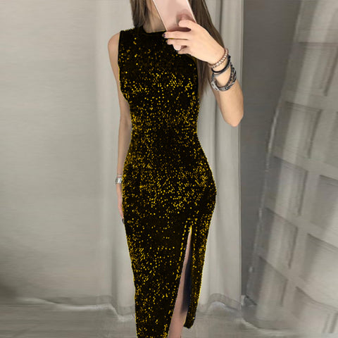 Women Elegant Sexy Sequins Ball Gown Evening Party Cocktail Wedding Prom Maxi Dress